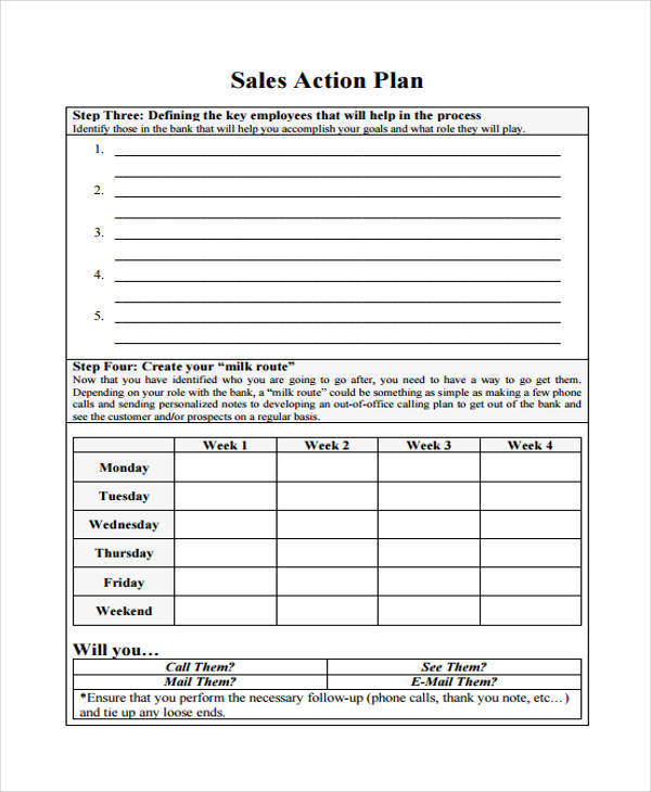 weekly sales action plan