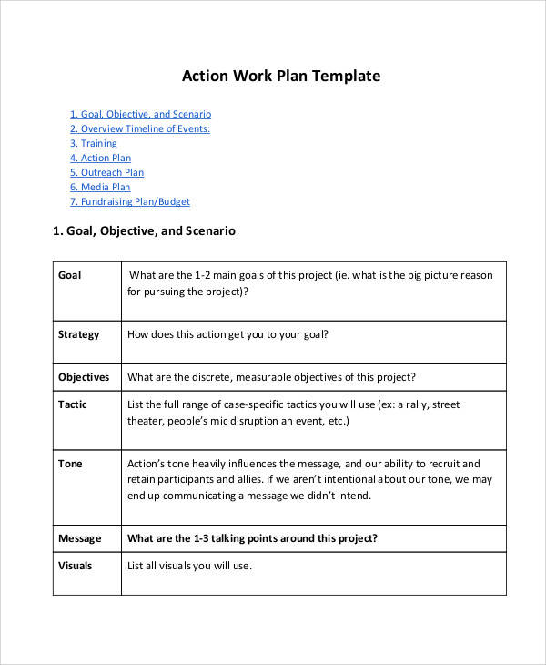 work action plan