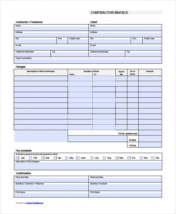 sample contract invoice