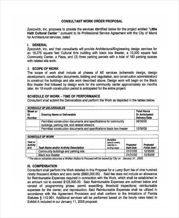 work order proposal