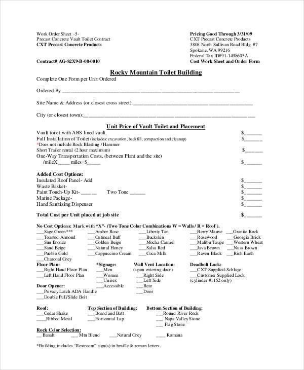 work order sheet
