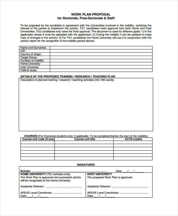 Work Proposals  Free Sample Example Format Download