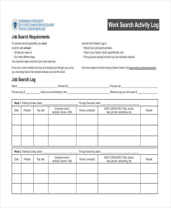 work search log sheet