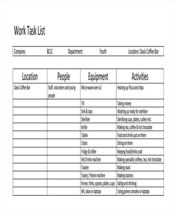 Task List Format