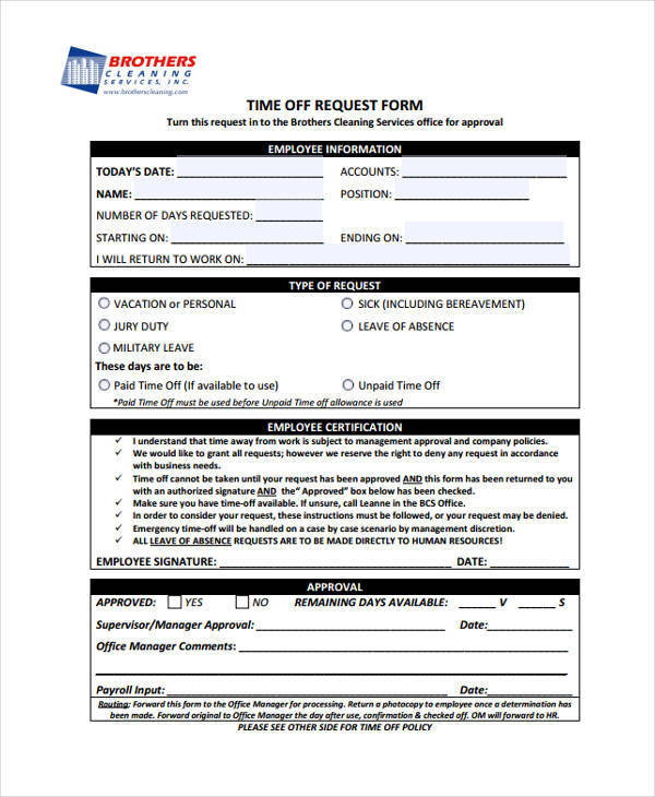 work time off request form