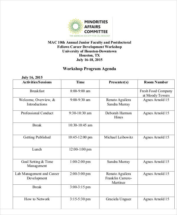 workshop program agenda
