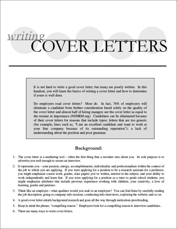 writing cover letters guide and sample