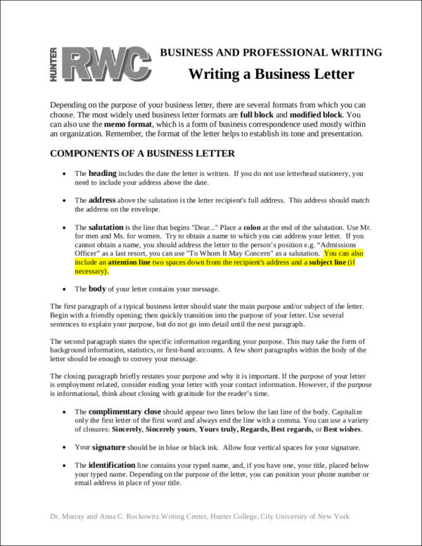 Proper business letter format elements to include writing a business letter spiritdancerdesigns Image collections