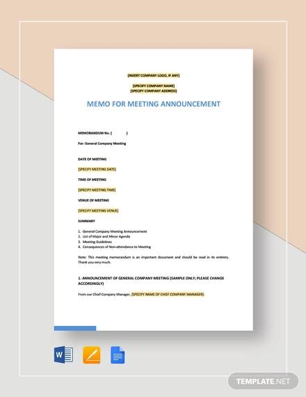 memo for meeting announcement