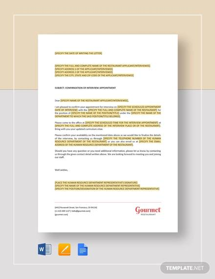 free 11  sample interview appointment letter templates in