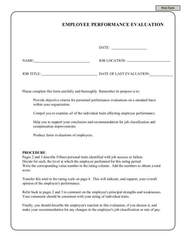 1 employee performance evaluation form