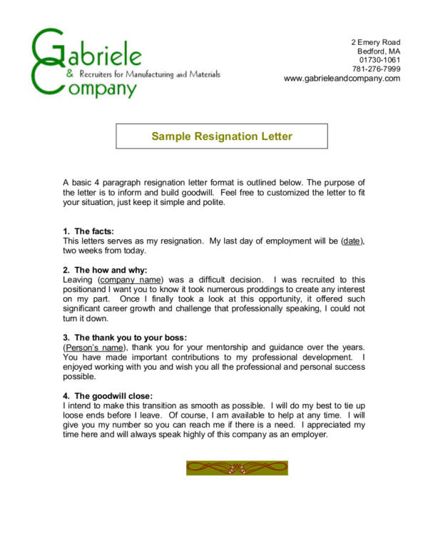 1 generic resignation letter sample