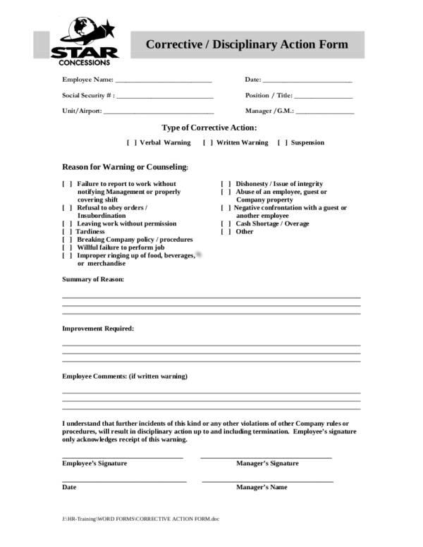 10 corrective disciplinary action form