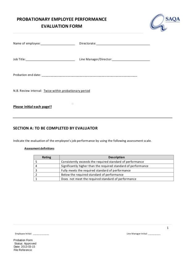 10 probationary employee performance form