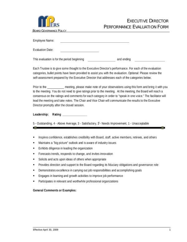 13 executive director performance evaluation form