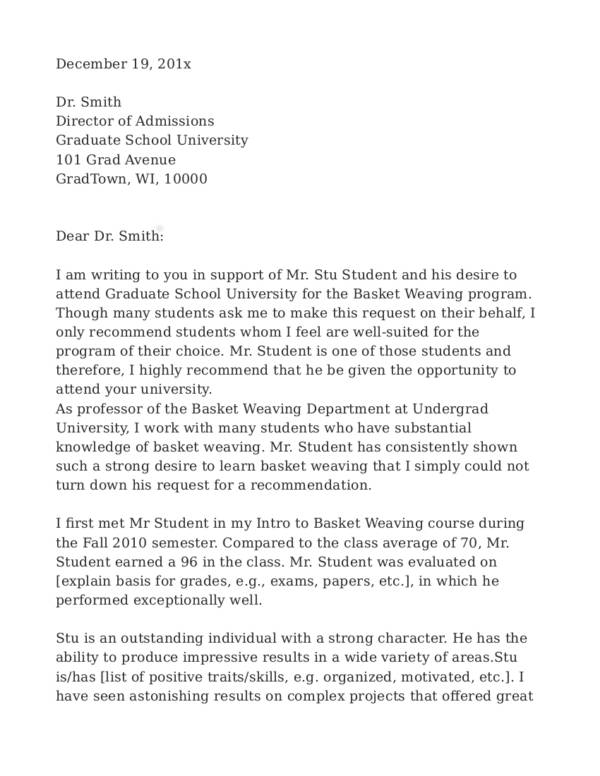 sample recommendation letter for graduate school writing an effective academic recommendation letter 24681 | 5 Graduate School Recommendation Letter1