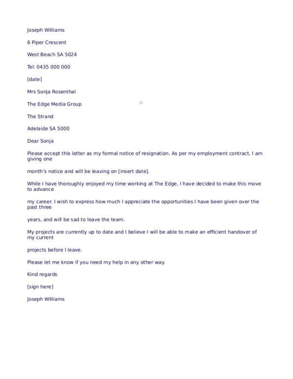 7 personalized resignation letter