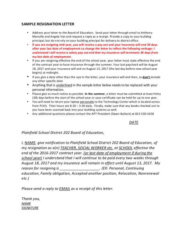 8 resignation letter sample