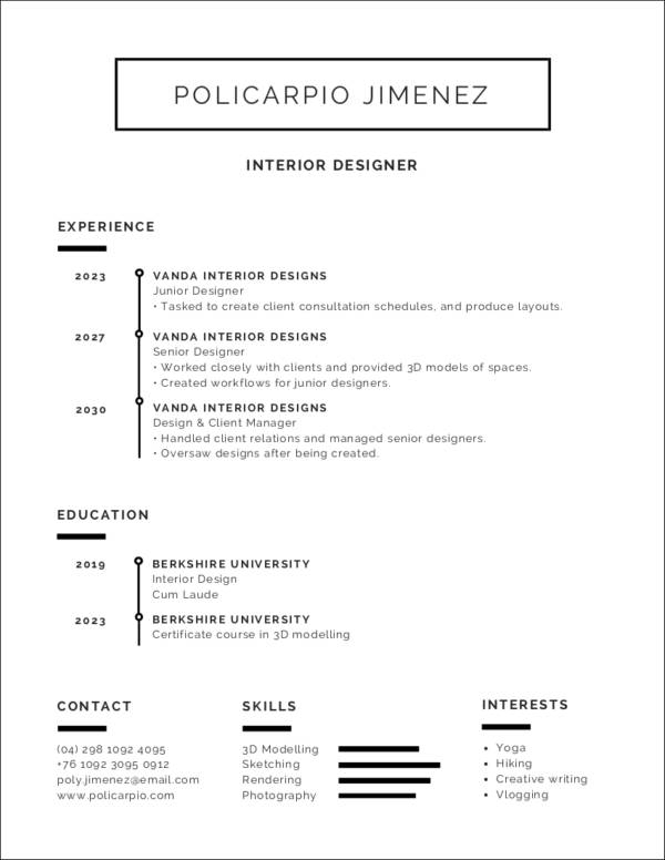 black and white minimalist resume template