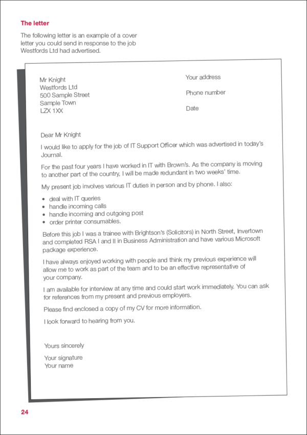cv covering letter sample