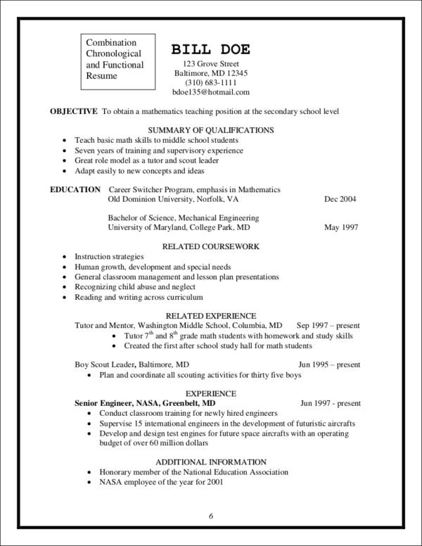 career switcher sample resume