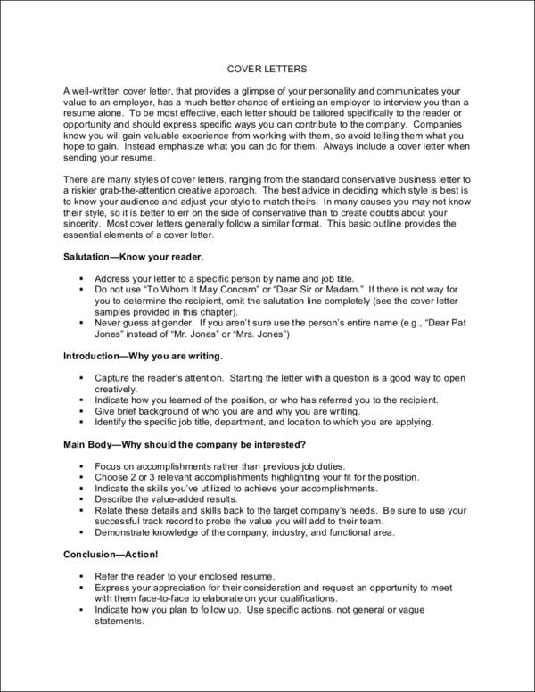 Free Essential Elements Of A Cover Letter   With Samples