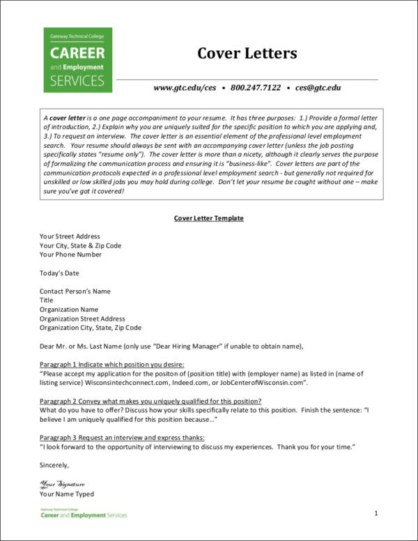 essential elements of a cover letter sample templates