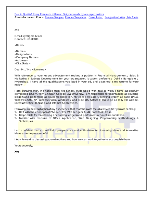 Cover Letter For Freshers Example  Elements Of A Good Cover Letter
