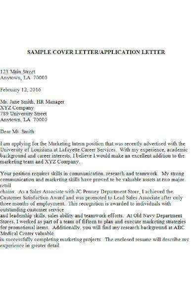 cover letter for job application letter