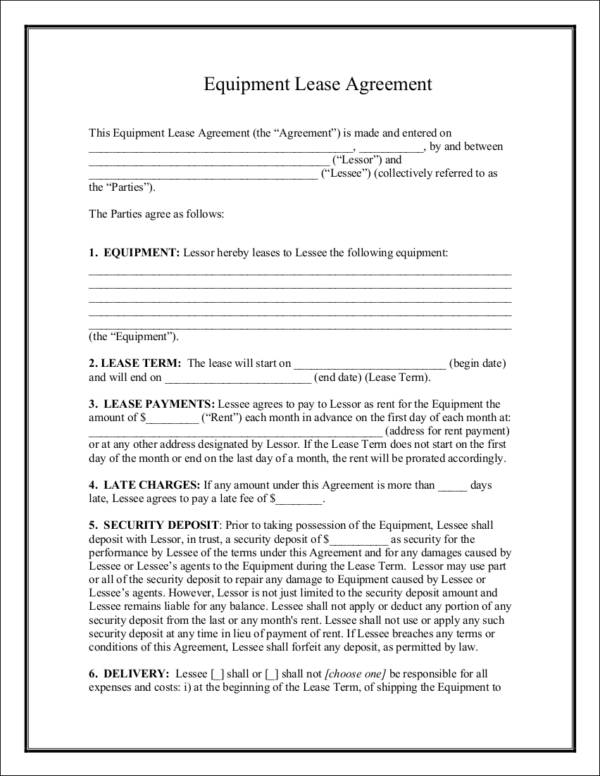 equipment lease agreement contract