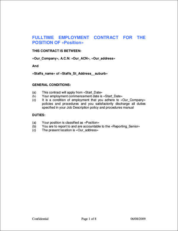 fulltime employment contract