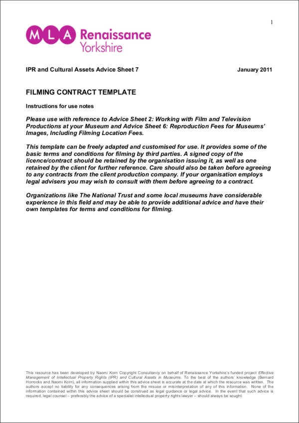 filming contract template