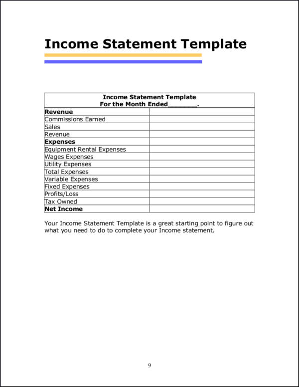 What Is In An Income Statement Free Pdf Samples