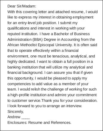formal cover letter sample for entry level job