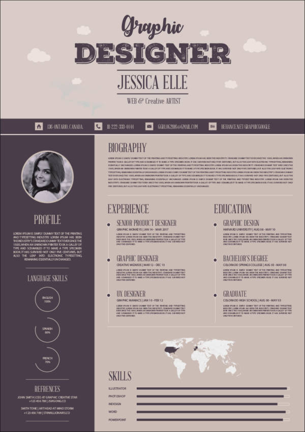 free creative vintage resume design template