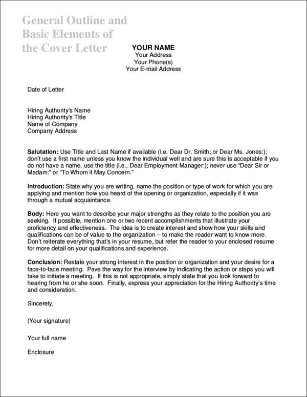 Essential Elements of a Cover Letter