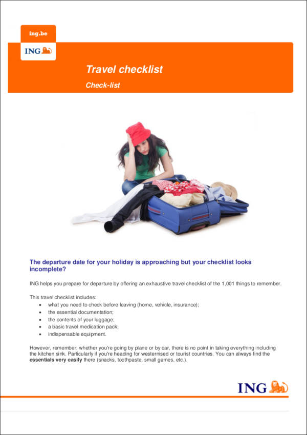 Ideas For An Effective Vacation And Travel Checklist In Pdf