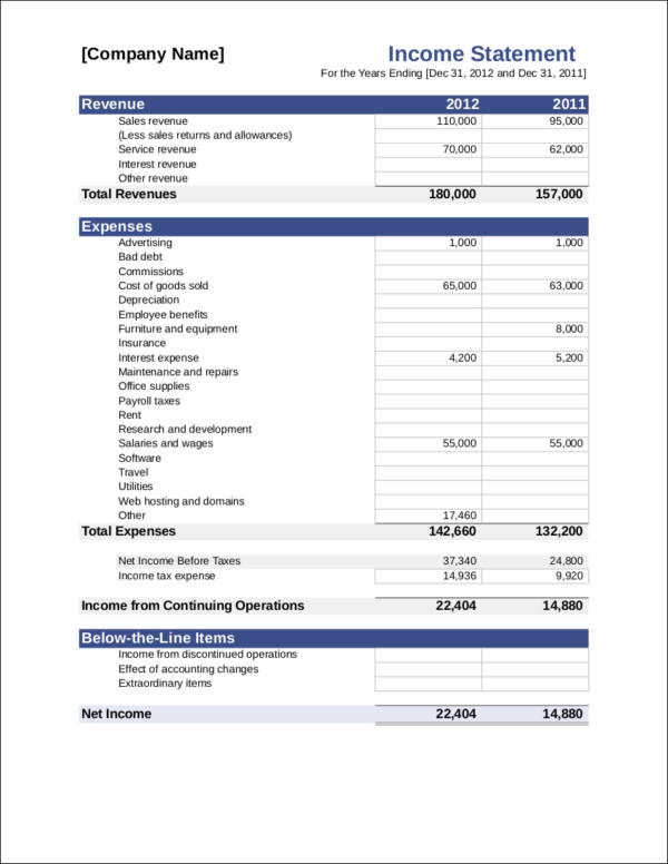 What Is In An Income Statement? Free Pdf Samples