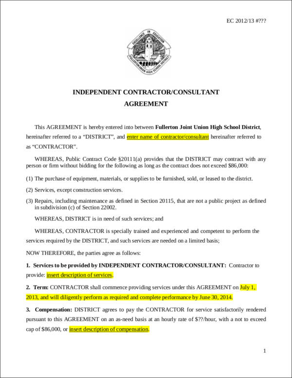 independent consultant agreement