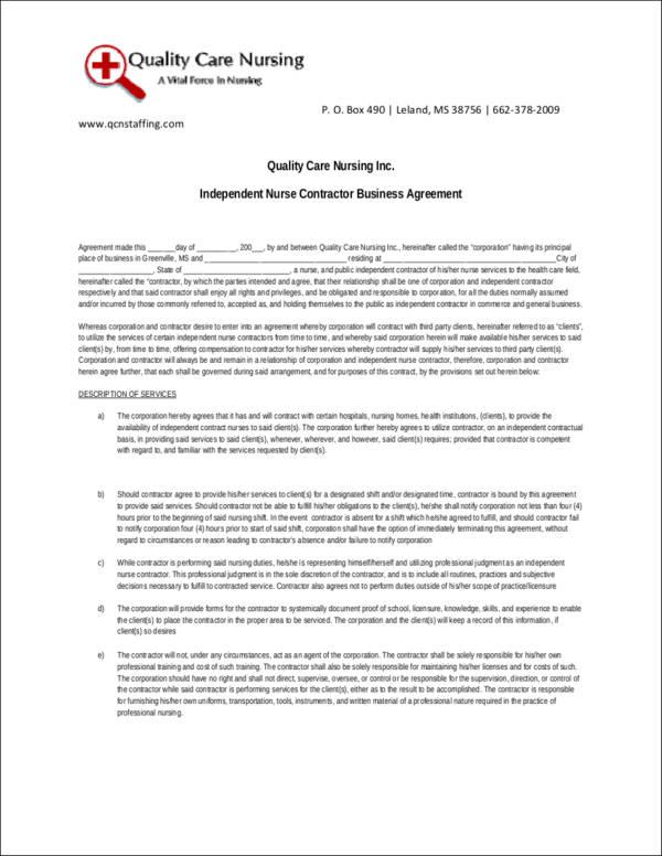independent nurse contractor agreement