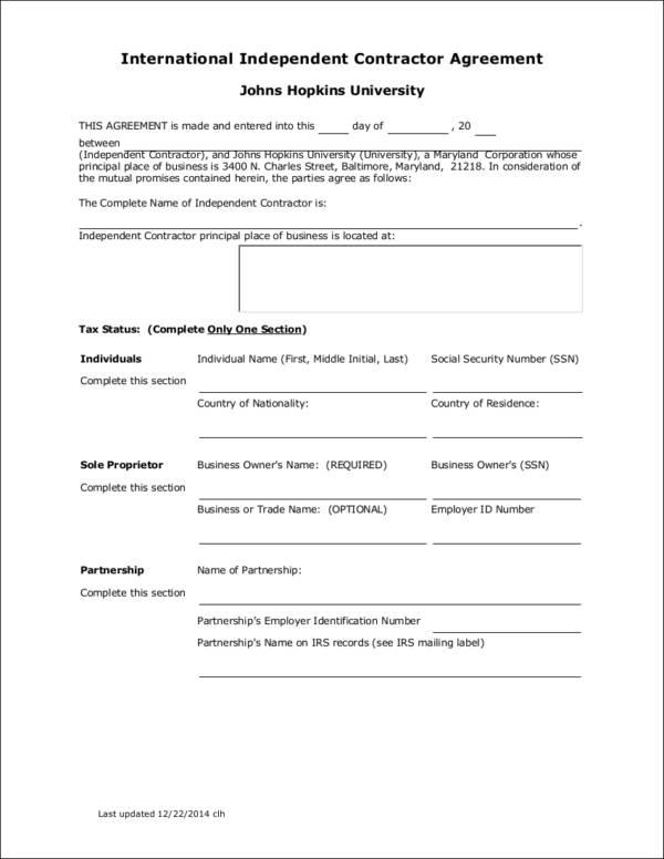 international independent contractor agreement