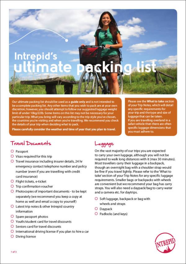 intrepid's ultimate packing list