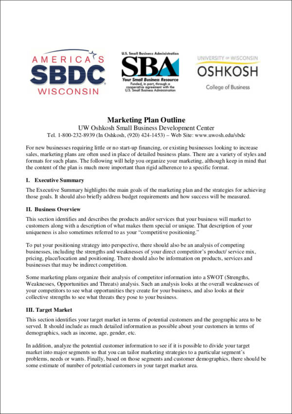 marketing plan outline sample