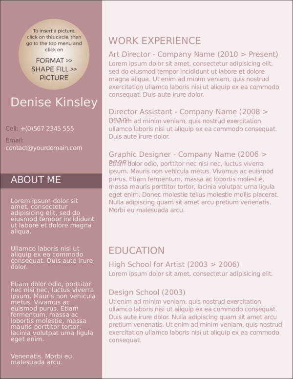 modern and chic resume template