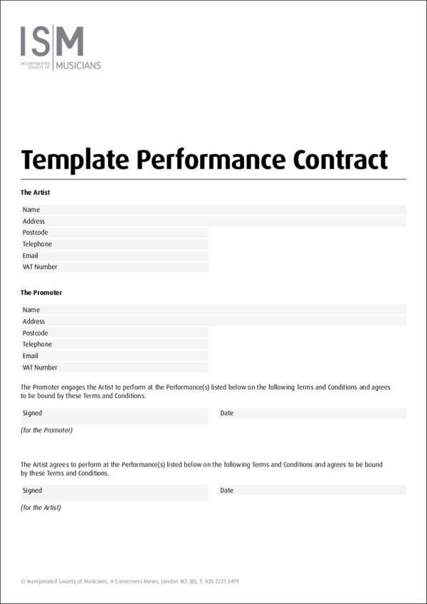 musician performance contract template