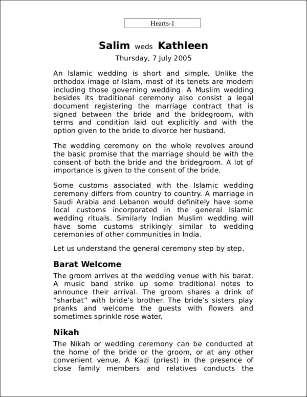 Attractive Muslim Wedding Program