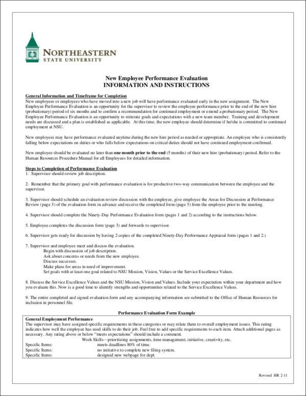 new employee performance evaluation