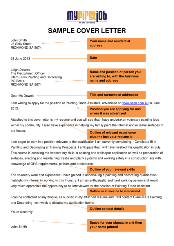 Sample Cover Letter Trades Assistant —