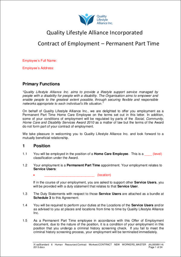 permanent part time employment contract