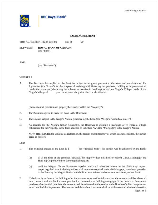 rbc royal bank loan agreement contract